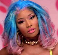 Nicki in blue&pink hair