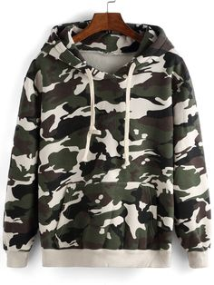 Sudadera con capucha camuflage suelta-(Sheinside) Camo Outfits, Chill Outfits, Classy Outfits, Stylish Outfits, Trendy Hoodies, Teen Fashion Outfits, Cool Sweaters, Pulls, Sweater Hoodie