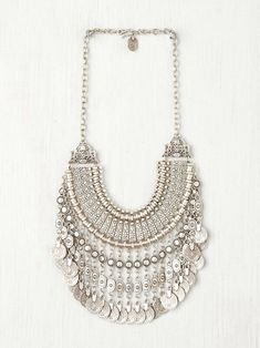 silver bohemian statement necklace