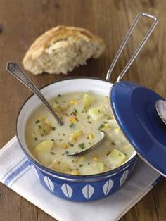 Delicious corn & potato chowder! If you cook it in a Dutch oven for a couple of hours (instead of the 20-30 minutes the recipe recommends), then the milk and mashing of potatoes are completely unnecessary, as the soup will thicken up on its own. I also add carrots, celery, and peas for some extra veggie goodness. Asiago cheese is a good substitute for the cheddar since it gives a bit more flavor.