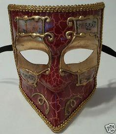 RED Gold Bauta Aged Venetian Mardi Gras MEN'S Masquerade Square Mardi Gras Mask | eBay