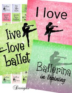 Ballet Images 1 x 1 Inch  Digital Collage by DesignsbyLindaNee, $3.95