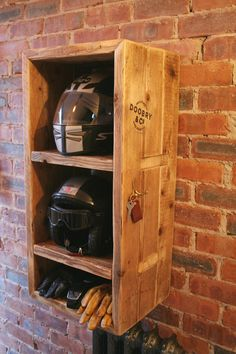 Motorbike Motorcycle helmet storage unit. 2 compartments for