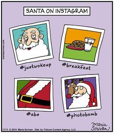 Half Full by Maria Scrivan on Go Comics Christmas Comics, Christmas Humor, Non Sequitur, Calvin And Hobbes, Comic Strips, December, Santa, Funny, Comic Books
