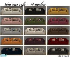 """15 recolors of murano's """"Idea One"""" sofa. Since the seats and cushions can be mixed and matched, there are endless possibilities!  Found in TSR Category 'Objects'"""