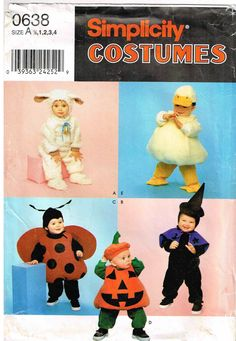 toddler duck ladybug lamb witch pumpkin halloween costume child sewing pattern simplicity 0638 9318 infant toddler size 12 1 2 3 4