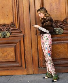 Marina Larroude in a Lilly e Violetta coat, Gucci pants and Chanel shoes