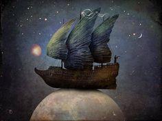 Sailing the Universe Art Print by Christian Schloe Magritte, Illustrations, Illustration Art, 7 Arts, Max Ernst, Universe Art, Surreal Art, Painting & Drawing, Sailing