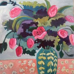 "Contemporary Artists of New Mexico: Contemporary Abstract Still Life Art Painting ""First Tuilps"" by Santa Fe Artist Annie O'Brien Gonzales"