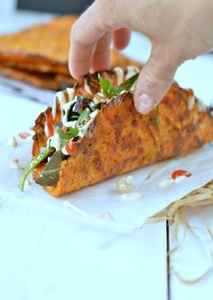 Carrot taco shells recipe :http://www.sweetashoney.co/carrot-taco-shells/