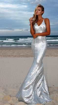 Silver Angel  backless prom/ formal dress by STUDIO MINC