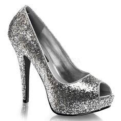 """TWINKLE-18G, 5 1/4"""" Heel, 1"""" Platform Glitter Peep Toe Pump, 80's, New Wave in Silver Glitter"""