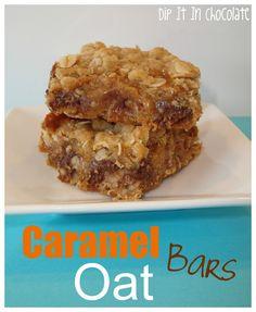 Caramel Oat Bars ~ Dip it in Chocolate