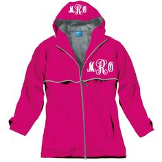 Women's Hot Pink Monogrammed Personalized Rain Jacket, Chest Monogram... ($57) ❤ liked on Polyvore featuring jackets