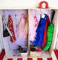 DIY Kids: Dress Up Wardrobe from a cardboard box