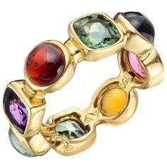 "Multi-Colored Gemstone Rings | SEAMAN SCHEPPS ""50's"" Multicolored Gemstone Band Ring at 1stdibs"