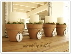 Homestead Revival: Simple & Natural Advent Wreath Ideas The terra cotta pots and mason jars are my favorites. Christmas Love, Winter Christmas, Christmas Crafts, Christmas Decorations, Christmas Candle, Christmas Ideas, Wedding Decorations, Advent Candles, Flameless Candles