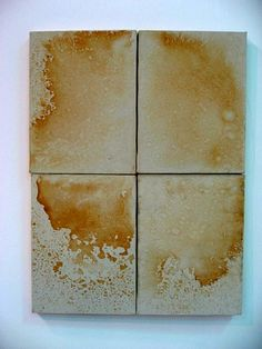 """""""Part of Andy Warhol's """"Oxidations"""" series, created in 1978. Warhol and others urinated on canvases prepared with copper and bronze metallic pigments that oxidized as the painting dried."""""""