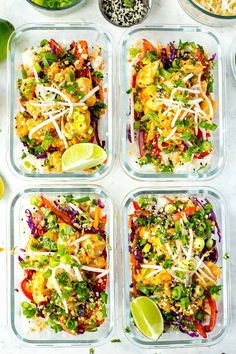 Sweet Chili Chicken Meal Prep Bowls | The Girl on Bloor-These Sweet Chili Chicken Meal Prep Bowls with jasmine rice, bean sprouts
