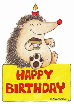 Great card for a child's birthday! cute and funny hedgehog