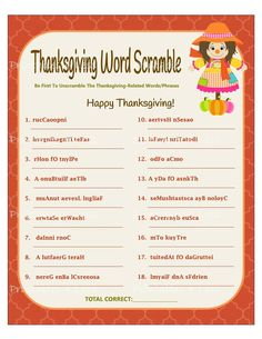 Thanksgiving Family Games, Thanksgiving Words, Thanksgiving Parties, Thanksgiving Crafts, Fall Crafts, Thanksgiving Worksheets, Hosting Thanksgiving, Fall Family, Thanksgiving Table