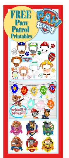 Free printables for Paw Patrol party. Free Paw Patrol Photo Props.Kid's birthday party ideas.  #party