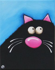 Fat Cat Art Original painting whimsical black cat by Lucia Stewart blue (3) #Modern