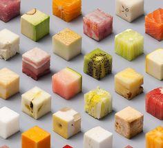Lernert & Sander Cut Raw Food into 98 Perfect Cubes for de Volkskrant   urdesign magazine