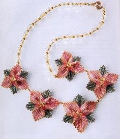 Necklace with pink flowers - using triangles for flowers. (Translate) #Seed #Bead #Tutorial