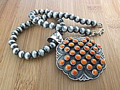 Necklace Sterling Silver Beads  PendantCoral Sunshine $500.00