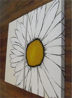modern daisy flower painting - 2 canvas piece- yellow white khacki- custom colors and sizes available