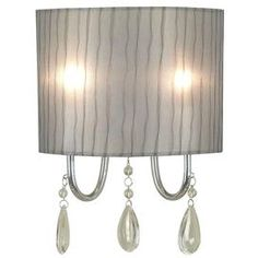 Two-light metal wall sconce in chrome with hanging teardrop accents.     Product: Wall sconce    Construction Material: Metal    Color: Chrome    Accommodates: (2) 60 Watt (C) bulbs - not included   Features: Will enhance any decor   Dimensions: 13 H x 9 W