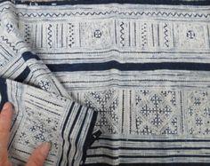 Handwoven  Vintage Indigo Hmong fabric textiles-from Thailand