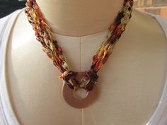 Crochet ribbon ladder yarn necklace with copper by rlittleton, $10.00
