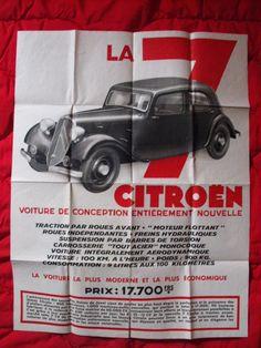 Citroën La 7 traction avant. Affiche dépliant original des années art-déco.