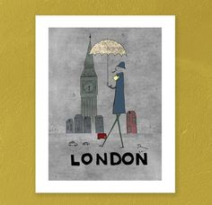 Hooray my 1000 pin goes to...London and UmbrellaGiclee Art Print Limited by OrangeOptimist