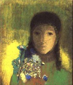 ODILON REDON http://www.reprodart.com/kunst/odilon_redon_61/woman_wild_flowers_1895_1900_hi.jpg