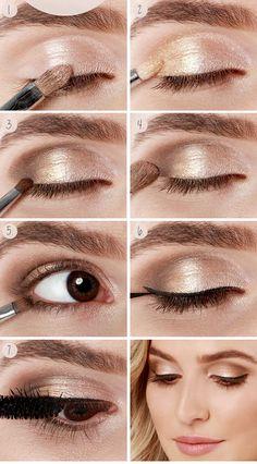 Maquiagem para olhos castanhos passo a passo, perfeita para usar de dia. Super fácil! ;)