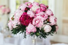 Closeup of bouquet made of white and pink peonies Free Photo