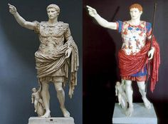 UV light reveals how ancient Roman statues really looked.- Seriously, this statue is Roman, not Greek. Ignore the title article. Ancient Rome, Ancient Greece, Ancient Art, Ancient History, Art History, Statue Antique, Rome Antique, Greek Statues, Empire Romain