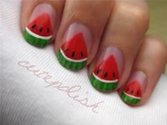 Watermelon nail design by cutepolish #nails #nailart #watermelon