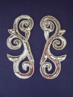 P-046 Silver large swirl pair- Sequin Appliques, Belly Dance, Burlesque, Tutu, Create Your Own, Sequins, Pairs, Brooch, Costumes