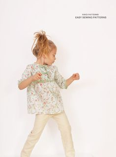 Floral girls TUNIC pattern pdf - easy children sewing patterns - sizes from 3 to 8 years Girls Tunics, Sewing Patterns For Kids, Tunic Pattern, Kids Outfits, Cotton Fabric, Pdf, Kids Clothing, Children, Floral