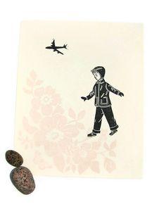 Fly ORIGINAL handpulled linoleum print on Rives by kathleenlaufman, $45.00