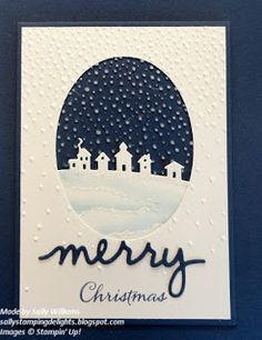Sleigh Ride Edgelit Dies, Christmas Greetings Thinlits Dies plus the Softly Falling Embossing Folder from the Holiday Catalogue. The only Stamped piece on this card is the word Christmas.