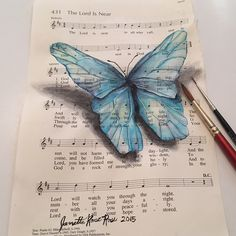 Musical Butterfly 4 - by Janette Rose (aka Janette Rose Art) Music Crafts, Book Crafts, Borboleta Diy, Butterfly Project, Musical Composition, Sheet Music Art, Book Page Art, Insect Art, Rose Art