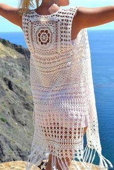 Fabulous Crochet a Little Black Crochet Dress Ideas. Georgeous Crochet a Little Black Crochet Dress Ideas. Gilet Crochet, Crochet Motifs, Crochet Cardigan Pattern, Crochet Blouse, Crochet Lace, Crochet Bikini, Crochet Patterns, Crochet Vests, Mode Hippie