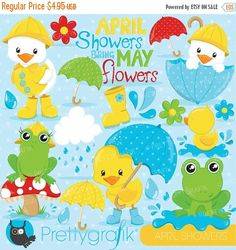 80% OFF SALE April showers clipart commercial use, duck and frog vector graphics, april digital clip art, digital images - CL824 by Prettygrafikdesign on Etsy https://www.etsy.com/uk/listing/227472536/80-off-sale-april-showers-clipart