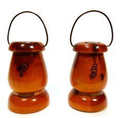 Wood Lantern Salt Pepper Shakers Souvenir Glacier Park BC Canada Vintage