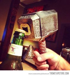 Mjolnir! The bottle opener of asgard! Such a nerd thing and I totally want one!